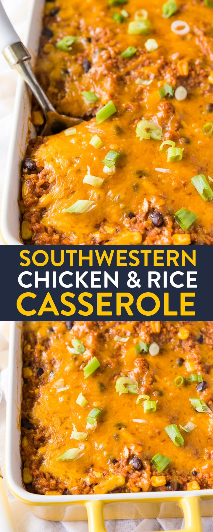 Southwestern Chicken and Rice Casserole. This cheesy bake has rice, black beans and chicken. It's easy to make as a vegetarian recipe too! An easy dinner that makes delicious leftovers.