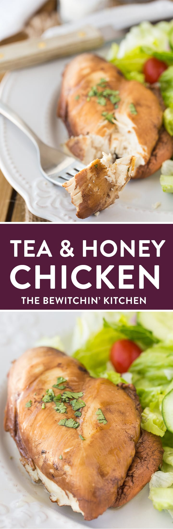 Tea and Honey Chicken. An easy, healthy, dinner recipe that is fast and makes a great weeknight meal. Chicken breasts poached in tea, honey, and soy sauce. You have to try it! 21 Day Fix approved, keto, and clean eating! #21dayfixrecipes #chickenbreastrecipes #honeychickenrecipes #poachedchickens #chickenbreastrecipes #easychickenrecipes #healthychickenrecipes #thebewitchinkitchen