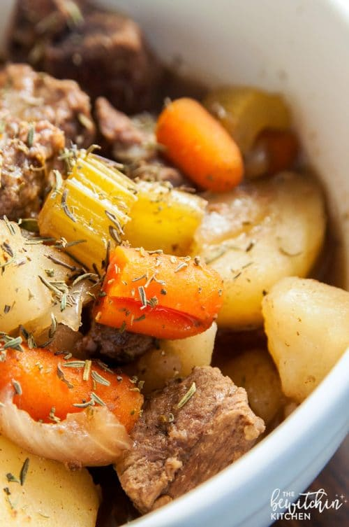 Crockpot Beef Stew - this classic beef stew is what I grew up on. It's made in the slow cooker so it's not only healthy, but easy too!