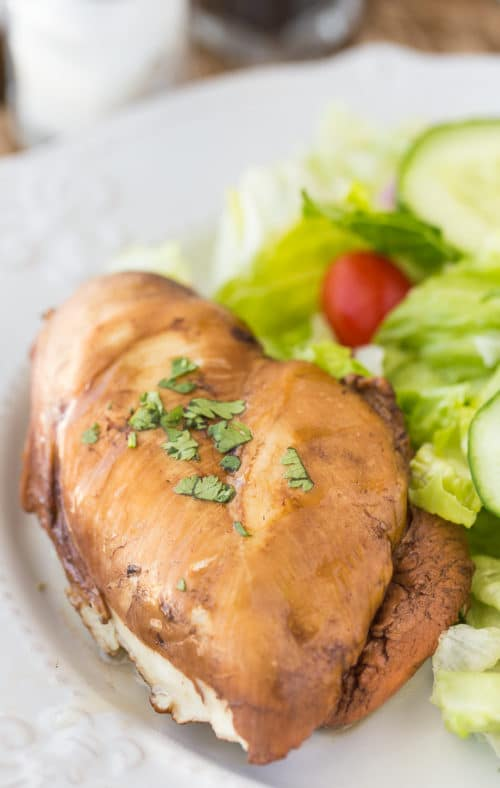Chicken breast poached in tea and honey with a side of salad.
