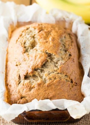 This simple banana bread recipe is an easy and delicious way to use up leftover bananas. It's a classic dessert recipe! It doesn't take much time in the kitchen to prepare either!