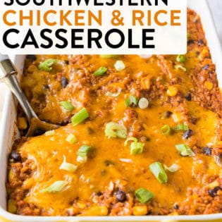 This southwestern chicken and rice casserole has a delicious mexican flavour but it's different than the typical tacos. A fun way to switch up Mexican night for dinner.