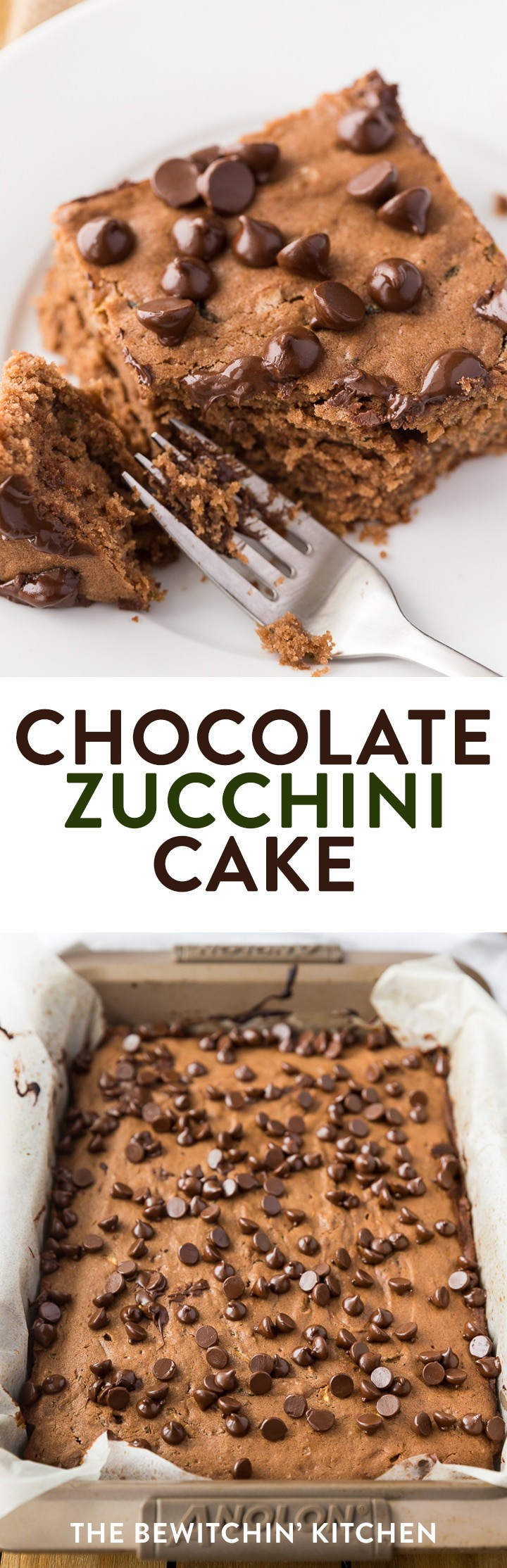 Chocolate Zucchini Cake - this fudgy dessert is a chocolate lovers dream. The zucchini keeps this recipe soft and the chocolate makes it yummy. #zucchinicake #chocolatezucchinicake #dessertrecipes #easydessertrecipes #easycakerecipes #thebewitchinkitchen