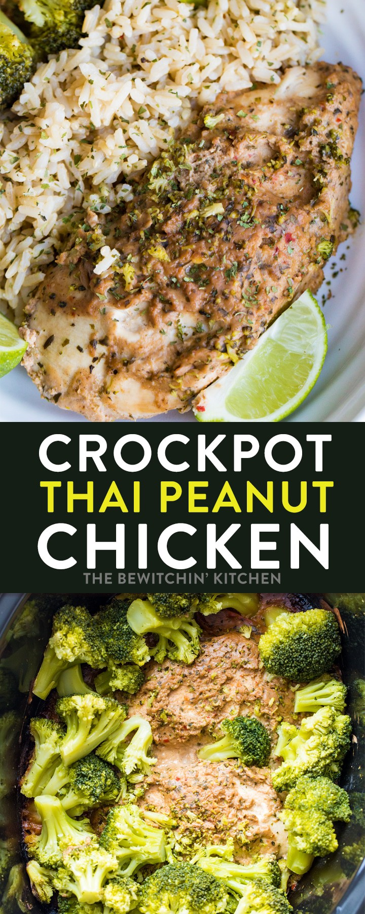 Slow Cooker Thai Chicken recipe- A creamy peanut butter sauce with lime, chili paste that is super yummy and super easy! A weeknight dinner that's tossed in a Crockpot. Thai Peanut Chicken is a simple meal to add to your menu plan. #thebewitchinkitchen #crockpotthaichicken #thaichicken #slowcookerthaichicken #crockpotchicken #slowcookerchicken #thaipeanutsauce #thaipeanutchicken