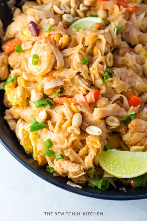 Easy Pad Thai recipe in a black matte bowl.
