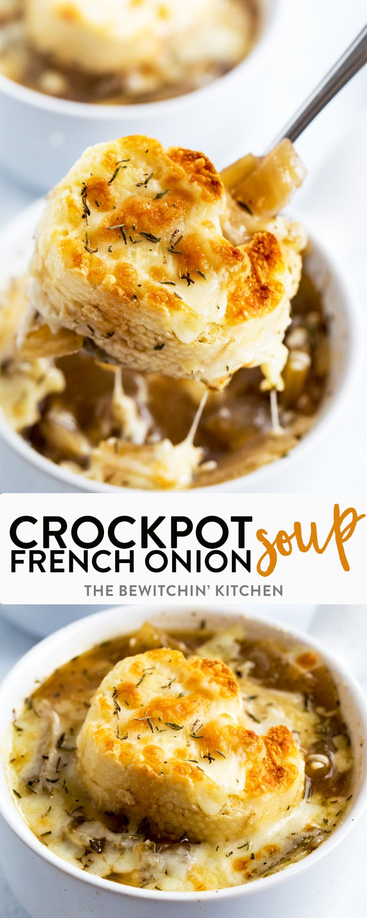 Slowcooker French Onion Soup - this homemade crockpot soup recipe is fast to put together and super yummy! An easy slow cooker soup with minimal ingredients that is topped with a french baguette, mozzarella. A perfect Crockpot dump meal that tastes like you slaved in the kitchen all day! #thebewitchinkitchen #slowcookerfrenchonionsoup #frenchonionsoup #homemadefrenchonionsoup #crockpotfrenchonionsoup #souprecipes #homemadesoup