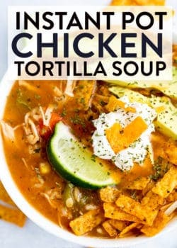 A close up of chicken tortilla soup recipe