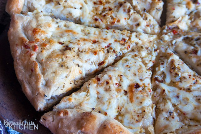 A close up of Zesty Pizza Bread.