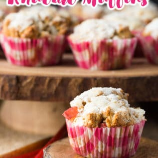 Whole wheat rhubarb muffins - these yummy muffins are the perfect spring or summer snack. Made with whole wheat flour, rhubarb, and greek yogurt. The crumb topping also features brown sugar Splenda.