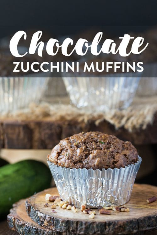 Vegan Chocolate Zucchini Muffins. Healthy and low calorie dessert recipe for chocolate pecan zucchini muffins. Vegan baking.