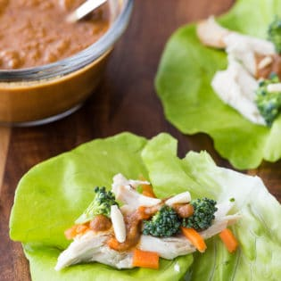 Thai Chicken Lettuce Wraps - this clean eating lettuce wraps recipe are vegan, Whole30, and paleo. It's one of my family's favorite healthy dinner recipes.