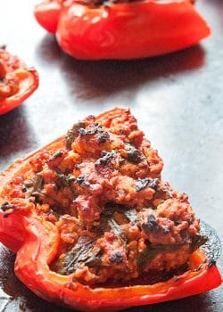 Paleo stuffed peppers recipe. This recipe is the most popular post at The Bewitchin' Kitchen. Add it to your paleo recipes list!   Turkey Stuffed Peppers #Paleo recipe