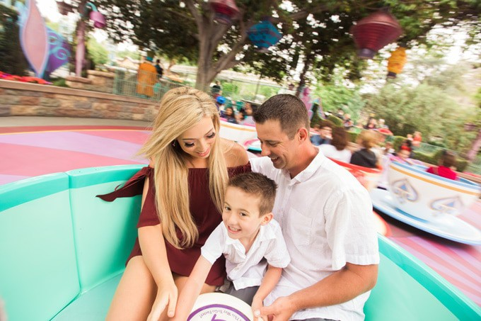 Having fun at Disneyland on the Tea Cups - Canadian Blogger Randa Derkson