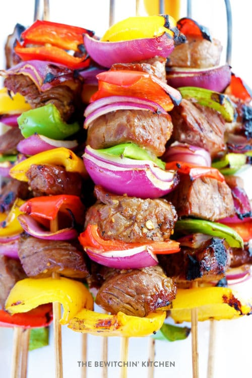 This asian beef kebabs recipe are a sweet twist on a savoury favorite. The steak skewers are easy to make and only take 12 minutes to BBQ.