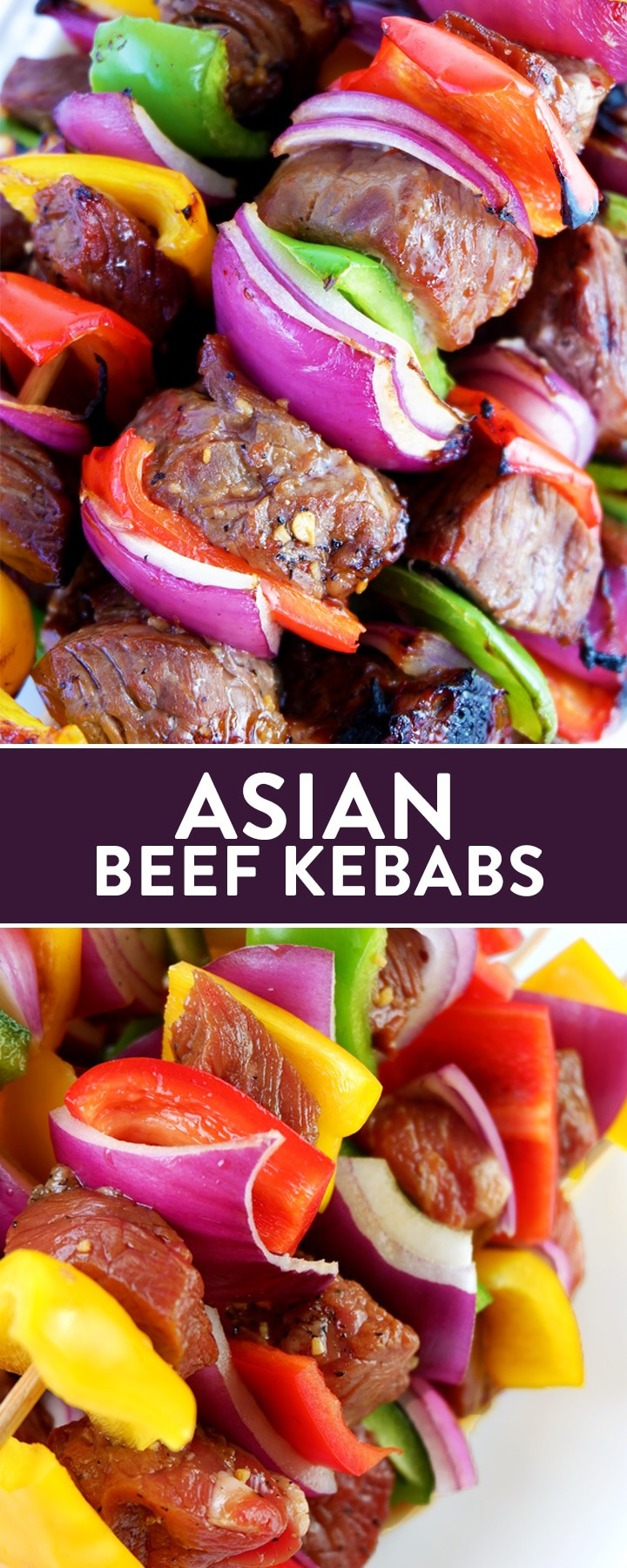 This asian beef kebabs recipe are a sweet twist on a savory favorite. The steak skewers are easy to make and only take 12 minutes to BBQ.