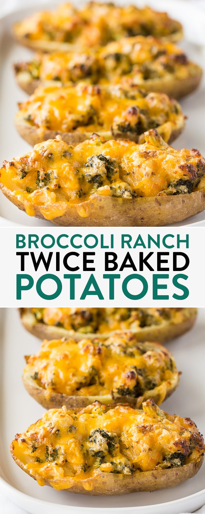 Broccoli ranch twice baked potatoes - this stuffed potato recipe is a twist on a classic recipe. Serve these at your next bbq or grill out!