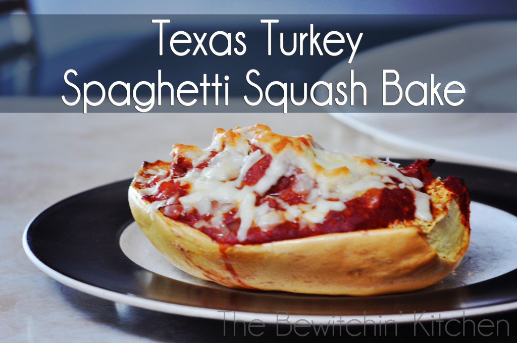 Texas Turkey Spaghetti Squash Bake. This gluten free and paleo recipe is not only a healthy dinner idea but it's delicious and man approved. Spaghetti squash recipes are a great way to sneak in some extra vegetables for your family. | The Bewitchin' Kitchen