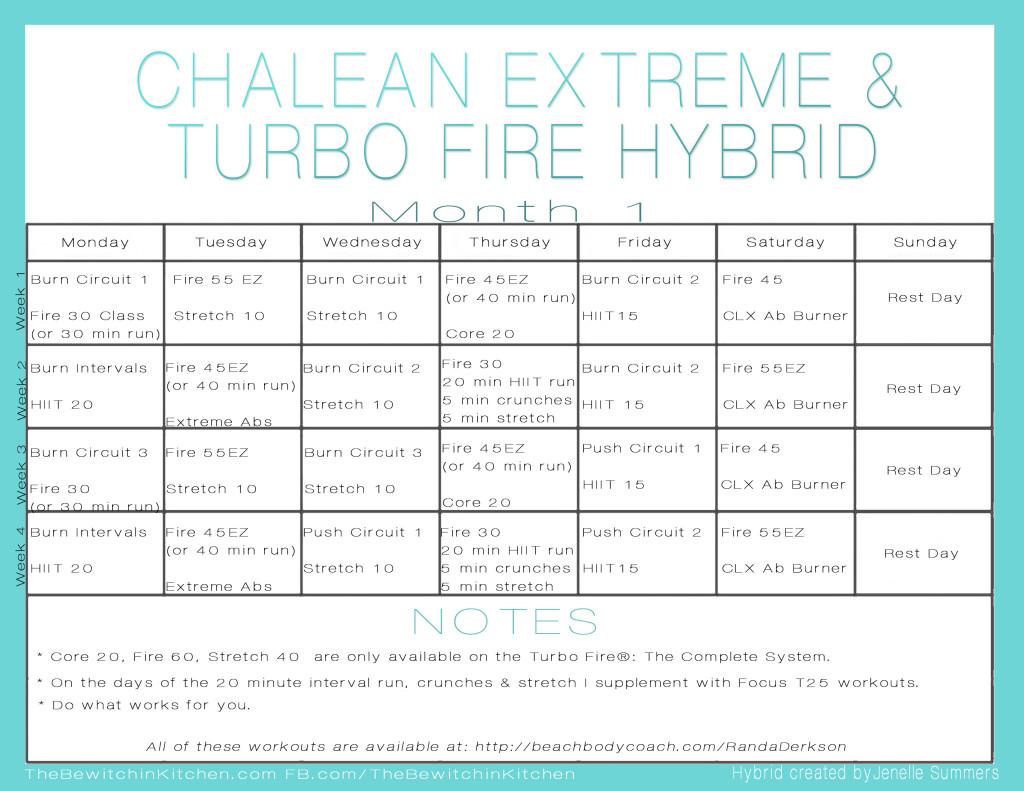 Turbo Fire ChaLEAN Extreme Hybrid Schedule Month 1