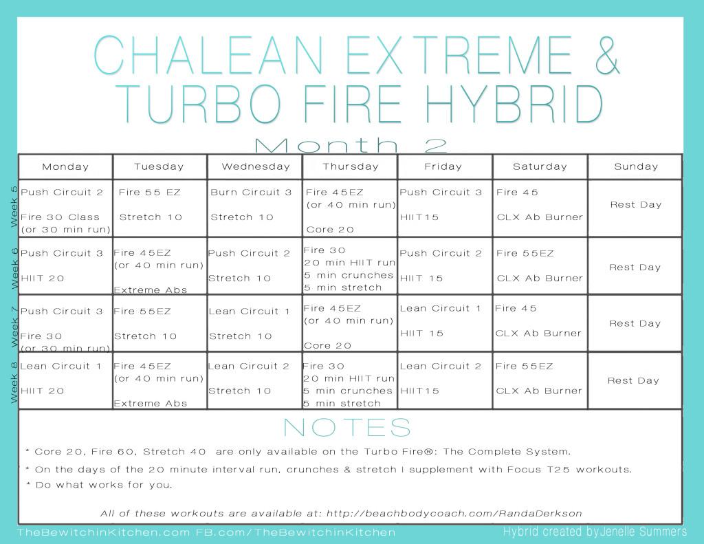 Turbo Fire ChaLEAN Extreme Hybrid Schedule Month 2