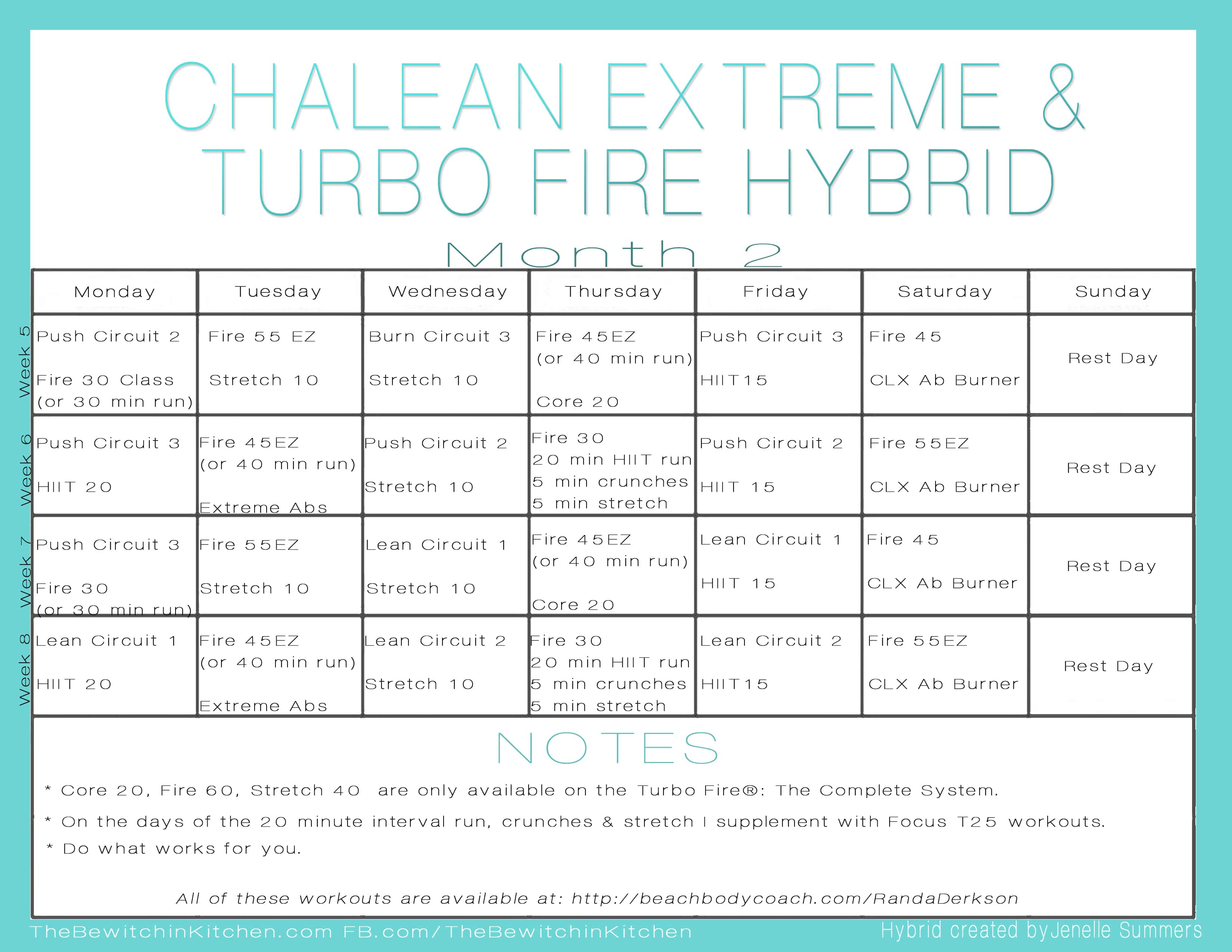 Printable Turbo Fire Workout Schedule | Calendar Template 2016