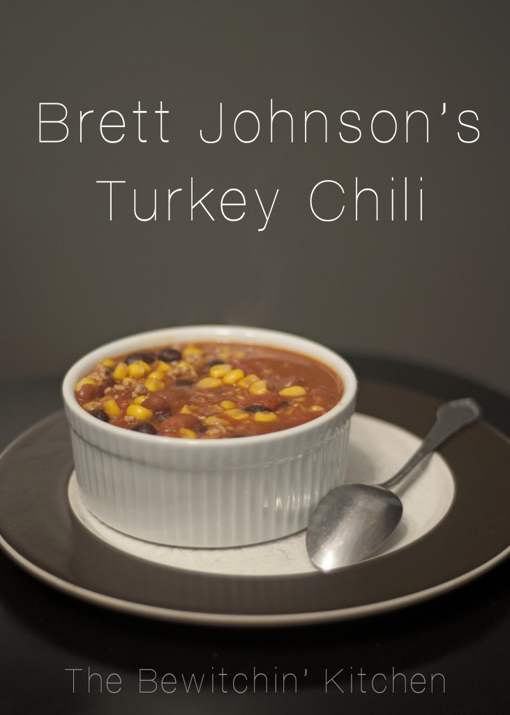 Bret Johnson's turkey chili recipe. Its perfect for those crisp fall days! Healthy recipes don't have to be boring!
