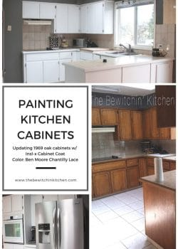 Transforming a 45 year old kitchen just by painting kitchen cabinets. This dated kitchen had old, oak cabinets that needed a little life. Products used: INSL-X Cabinet coat tinted in Benjamin Moore Chantilly Lace. Nothing like a little DIY renovation to spruce up kitchen cupboards..