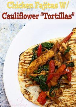 Chicken Fajitas Served With Cauliflower Tortillas. This paleo recipe is so good!