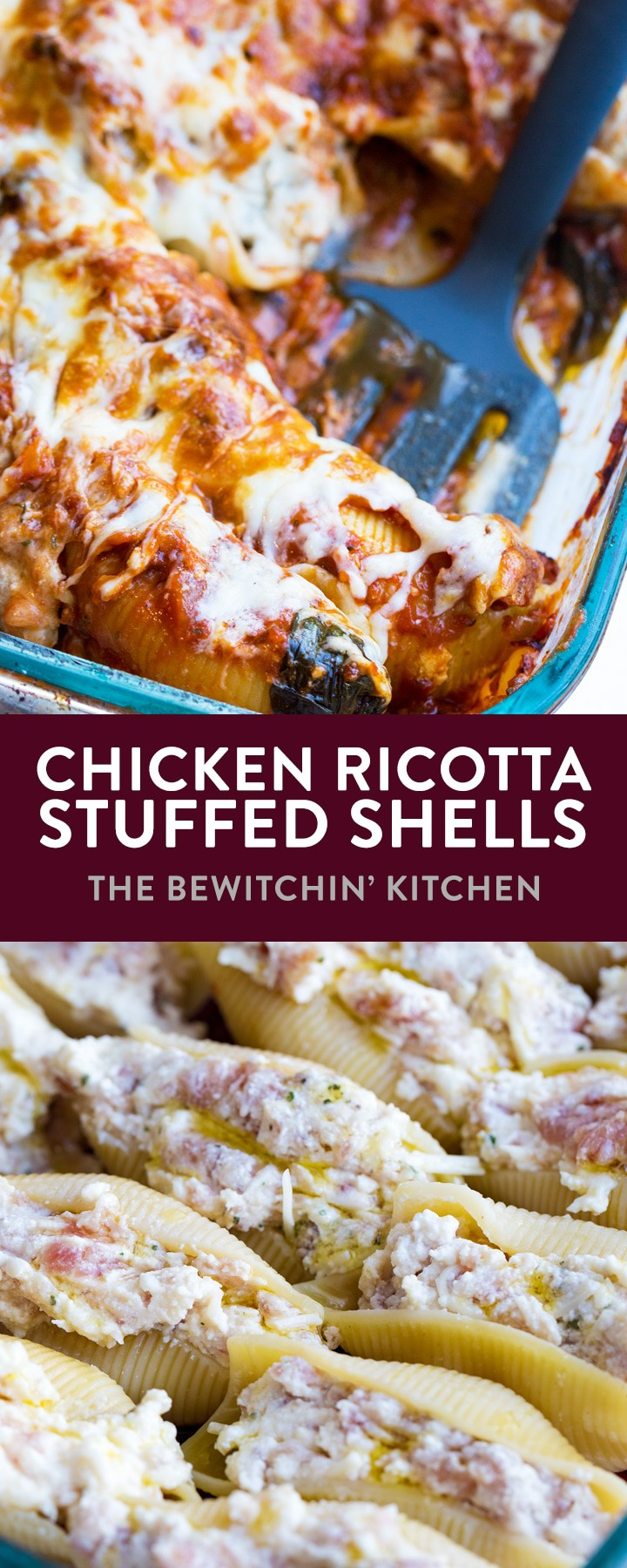 Chicken Ricotta Stuffed Shells - this pasta dinner recipe is amazing! Honey garlic chicken sausage, ricotta cheese, parmesan all stuffed in a jumbo pasta shell. Served with mozzarella cheese and a homemade tomato sauce with spinach. This recipe is the perfect family dish to bring to a potluck or family party. One of my favorite recipes! #thebewitchinkitchen #spinachricottashells #stuffedshells #pastarecipe #comfortfood #potluckrecipes #chickenstuffedshells #chickenricottastuffedshells #ricottastuffedshells
