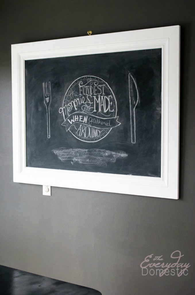 Diy Framed Chalkboard For Kitchen