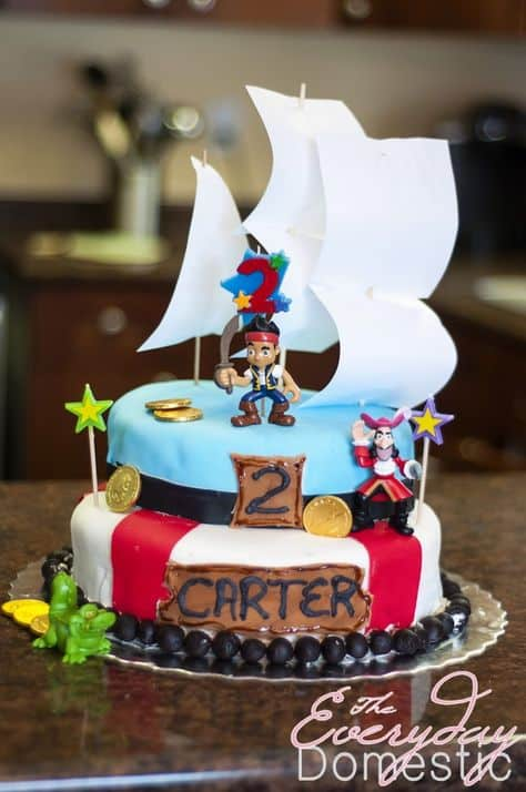 Jake and The Neverland Pirates Birthday Cake for toddler boys cake ideas from The Bewitchin' Kitchen