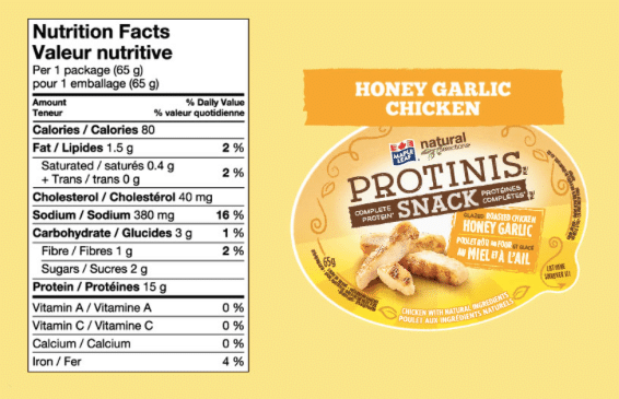 Calorie information on Protini