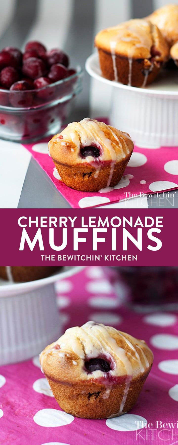 Cherry Lemonade Muffins recipe - a yummy cherry muffin topped with a lemon glaze. If you're looking for a different style of cherry recipes this is it! Makes one heck of a dessert or snack.