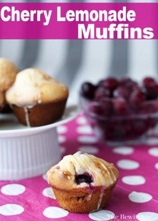 Cherry Lemonade Muffins - Cherry Muffins with a super yummy lemon glaze. I never thought muffins could be a dessert until now. Awesome recipe! | The Bewitchin Kitchen