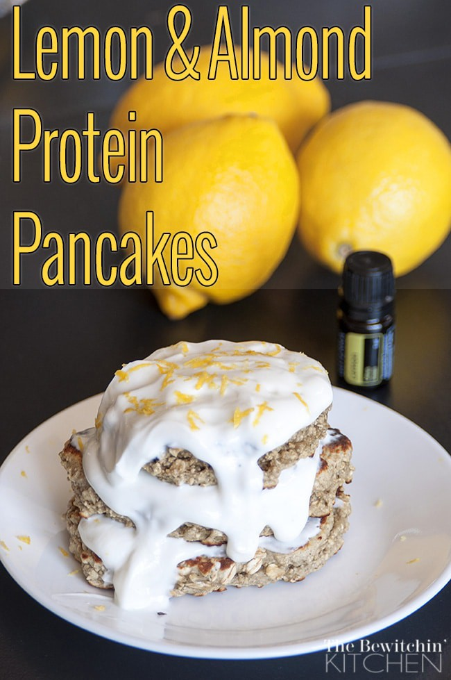 Lemon Almond Protein Pancakes - Healthy, gluten free packed with protein. The Bewitchin' Kitchen