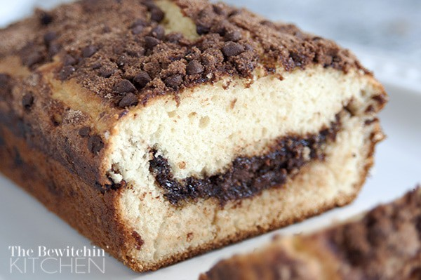 Ooey Gooey Goodness with this Chocolate Chip Quick Bread. It only takes a few minutes to prepare
