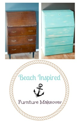 Beach Inspired Furniture Makeover Using Chalk-Based Paint and Wet Distressing. So easy