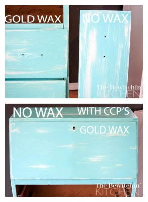 I love Country Chic Paint's Gold Wax, here is a before and after