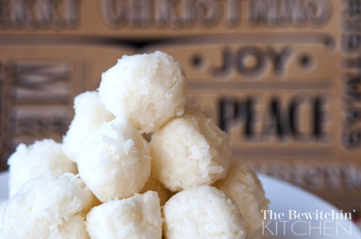 3 ingredient coconut balls. This easy recipe is gluten free, no bake, vegan and is a great alternative to cookies. They're good year round from Christmas baking to bridal shower favors (plus the coconut oil has health benefits). Check this recipe out on The Bewitchin' Kitchen. It's like homemade candy!