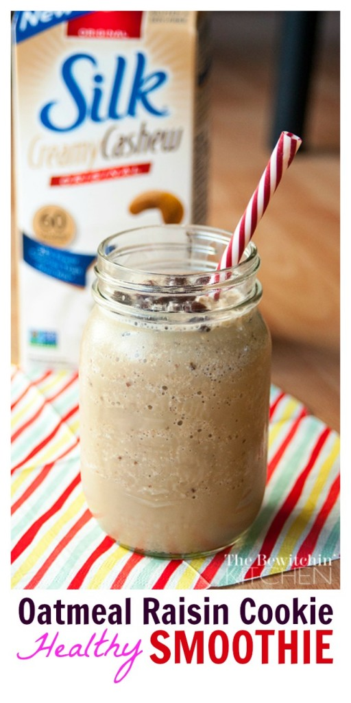 Oatmeal Raisin Cookie Shake - this healthy smoothie recipes helps you conquer your sweet tooth cravings but keeps you on track. So yummy! |thebewitchinkitchen.com