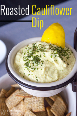 Roasted Cauliflower Dip - I love cauliflower recipes! This recipe is gluten free, packed with protein and is great for weight loss. Add this to your party appetizer recipes and dip recipes to keep full and satisfied at your next get together. Get this dip recipe and more healthy snacks visit The Bewitchin' Kitchen.