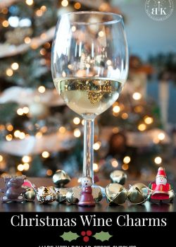 Christmas wine charms craft made with supplies from the dollar store