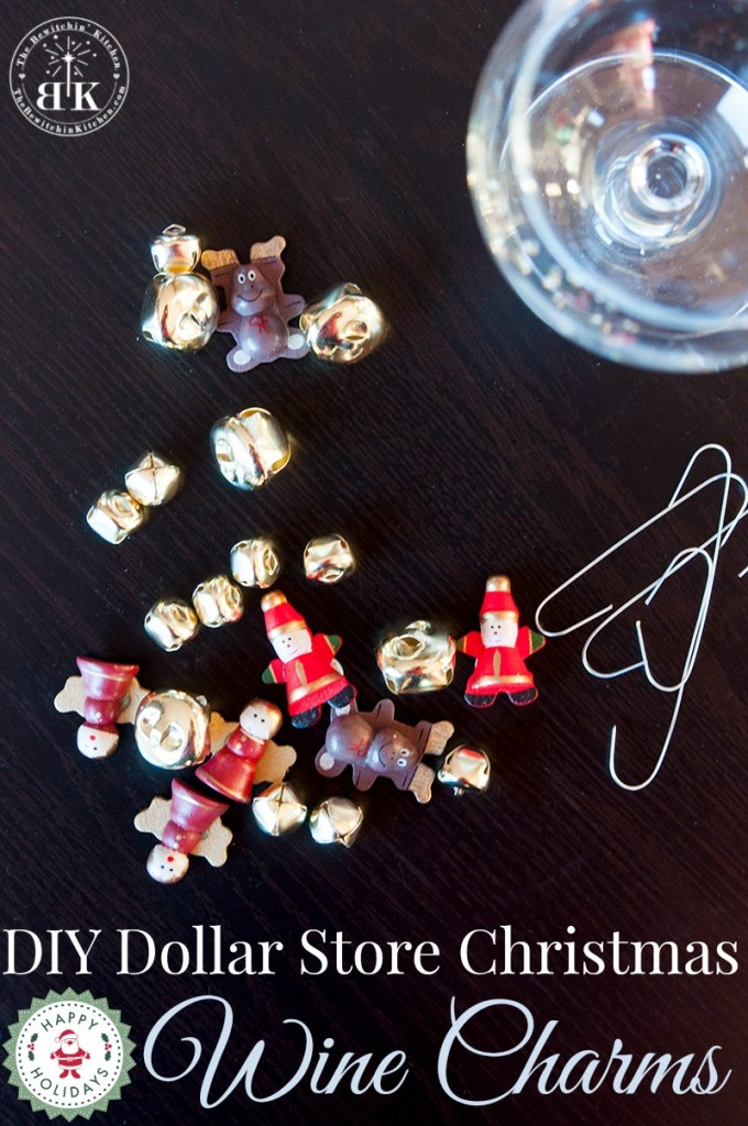 DIY Dollar Store Christmas Craft Wine Charms. These are easy and so cute!