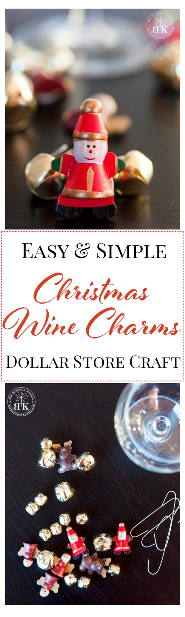 Easy DIY Wine Charms - this Christmas craft is very easy and cheap to do. Everything you need is from the dollar store. I love dollar store crafts!
