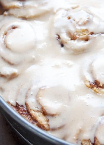 Ooey gooey Cinnamon rolls with a maple butter glaze