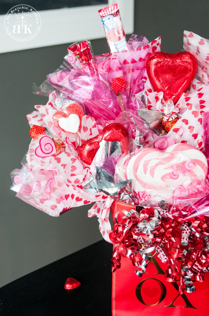 How to create a candy bouquet. This DIY gift is great for Valentine's Day, Mother's Day, Graduation, and it makes a great Father's Day gift. Tutorial found at The Bewitchin' Kitchen