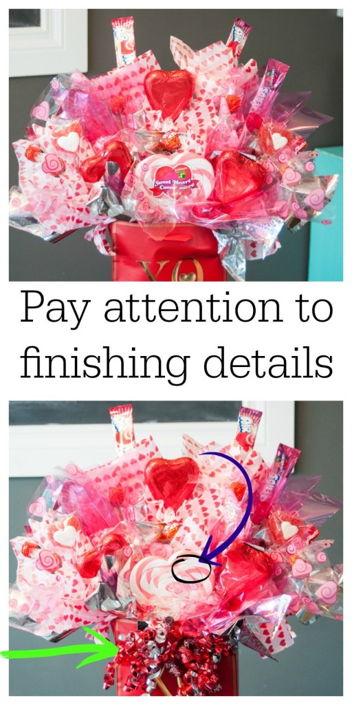 In the final stages of creating a candy bouquet, pay attention the details. Remove stickers, price tags and add embellishments that pull this DIY craft together. Get the full tutorial on The Bewitchin' Kitchen