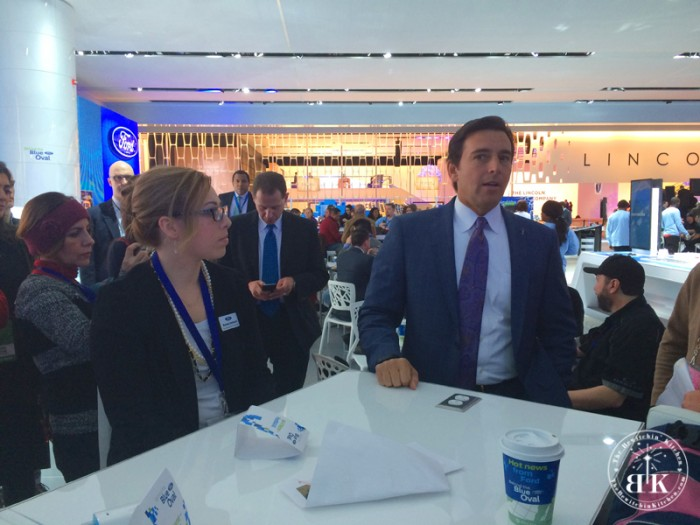 Randa Derkson and The CEO of Ford Motor Products, Mark Fields. Ford Digital Influencer with the North American International Auto Show