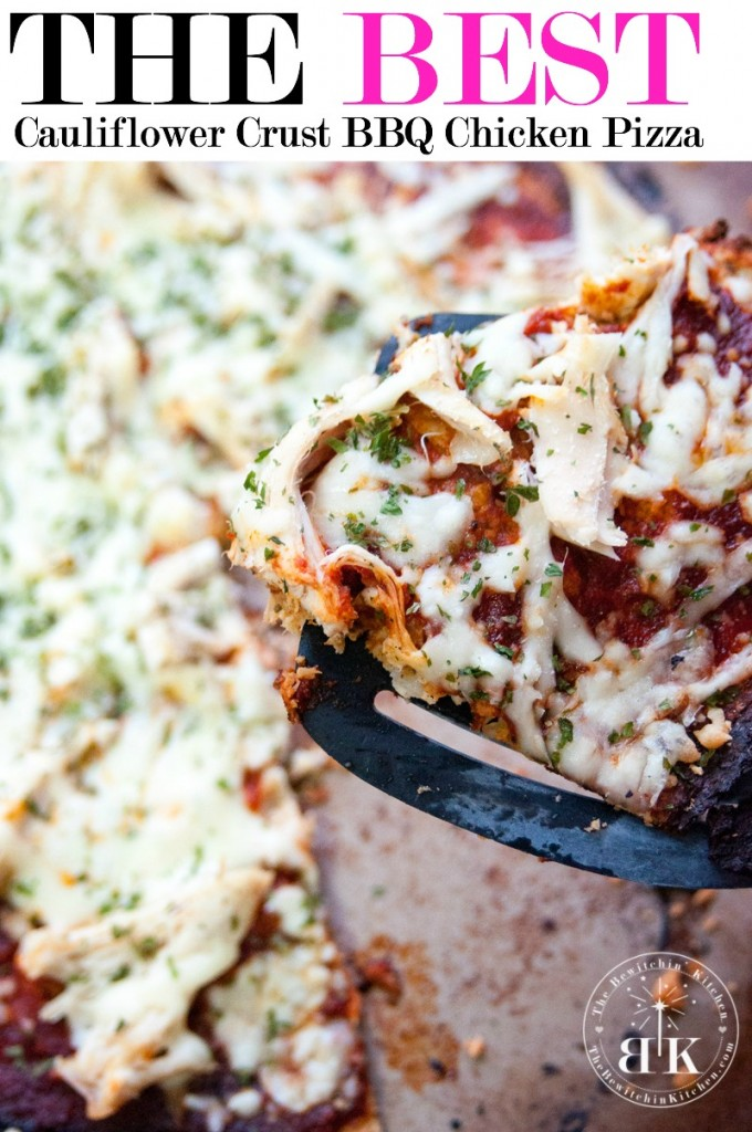 BBQ Chicken Cauliflower Pizza - This is the BEST recipe for cauliflower pizza crust. I love low calorie dinner recipes (plus a bonus recipe for paleo bbq sauce). If you haven't tried Cauliflower crust pizza yet - this is the recipe to make | The Bewitchin' Kitchen