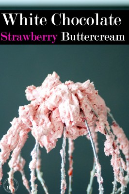 White Chocolate Strawberry Buttercream recipe - A delicious buttercream frosting recipe. This white chocolate frosting uses real strawberries and is the perfect topping for chocolate chai cupcakes (or any cake really). The Bewitchin' Kitchen