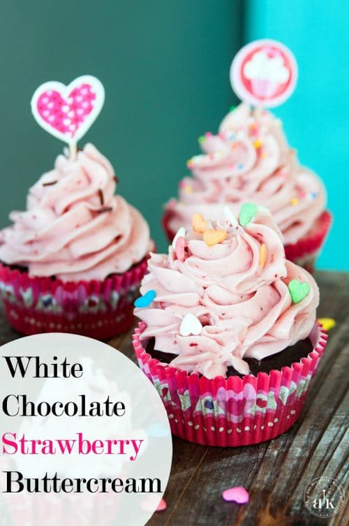 White Chocolate Strawberry Buttercream recipe - A delicious buttercream frosting recipe This white chocolate frosting uses real strawberries and is the perfect topping for chocolate chai cupcakes (or any cake) The Bewitchin' Kitchen
